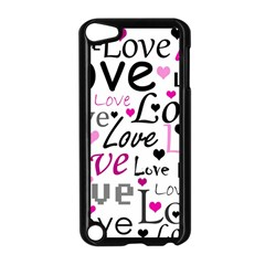 Love Pattern   Magenta Apple Ipod Touch 5 Case (black) by Valentinaart