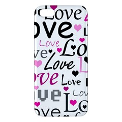 Love Pattern   Magenta Iphone 5s/ Se Premium Hardshell Case by Valentinaart