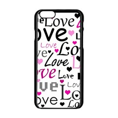 Love Pattern   Magenta Apple Iphone 6/6s Black Enamel Case by Valentinaart