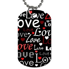 Red Love Pattern Dog Tag (one Side) by Valentinaart