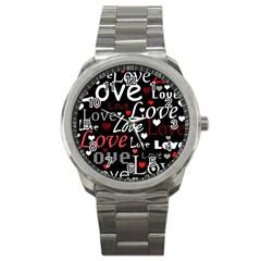 Red Love Pattern Sport Metal Watch by Valentinaart