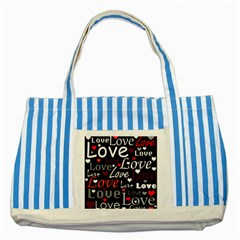 Red Love Pattern Striped Blue Tote Bag by Valentinaart