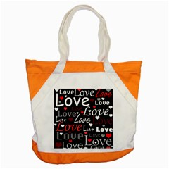 Red Love Pattern Accent Tote Bag by Valentinaart