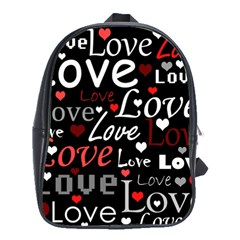 Red Love Pattern School Bags(large)  by Valentinaart