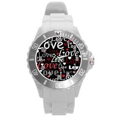 Red Love pattern Round Plastic Sport Watch (L) by Valentinaart