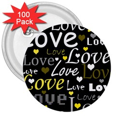 Yellow Love Pattern 3  Buttons (100 Pack)  by Valentinaart