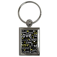 Yellow Love Pattern Key Chains (rectangle)  by Valentinaart