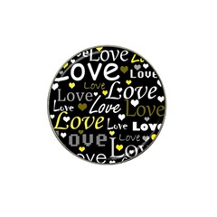 Yellow Love Pattern Hat Clip Ball Marker (4 Pack) by Valentinaart