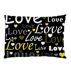 Yellow Love Pattern Pillow Case by Valentinaart