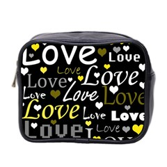 Yellow Love Pattern Mini Toiletries Bag 2 Side by Valentinaart