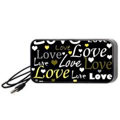 Yellow Love Pattern Portable Speaker (black)  by Valentinaart