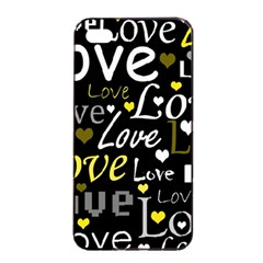 Yellow Love Pattern Apple Iphone 4/4s Seamless Case (black) by Valentinaart