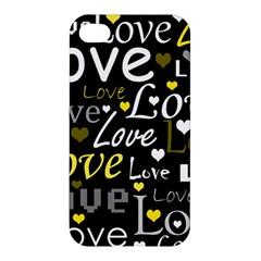 Yellow Love Pattern Apple Iphone 4/4s Premium Hardshell Case by Valentinaart
