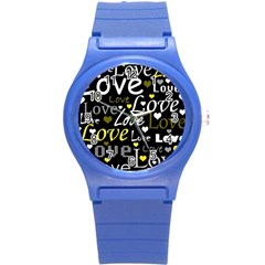 Yellow Love Pattern Round Plastic Sport Watch (s) by Valentinaart