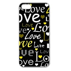 Yellow Love Pattern Apple Seamless Iphone 5 Case (clear) by Valentinaart