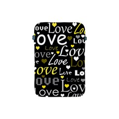 Yellow Love Pattern Apple Ipad Mini Protective Soft Cases by Valentinaart