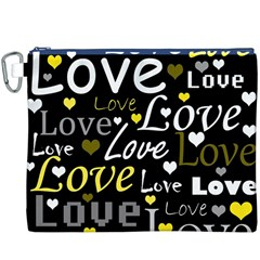 Yellow Love Pattern Canvas Cosmetic Bag (xxxl) by Valentinaart