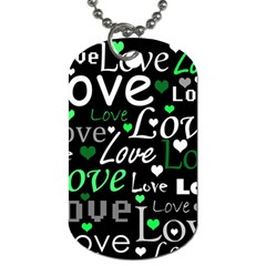 Green Valentine s Day Pattern Dog Tag (one Side) by Valentinaart