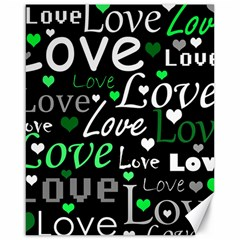 Green Valentine s Day Pattern Canvas 16  X 20   by Valentinaart