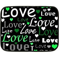Green Valentine s Day Pattern Fleece Blanket (mini) by Valentinaart