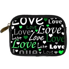 Green Valentine s Day Pattern Digital Camera Cases by Valentinaart