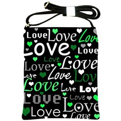 Green Valentine s Day Pattern Shoulder Sling Bags by Valentinaart