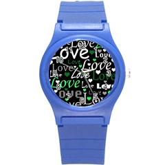Green Valentine s Day Pattern Round Plastic Sport Watch (s) by Valentinaart