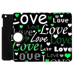 Green Valentine s Day Pattern Apple Ipad Mini Flip 360 Case by Valentinaart