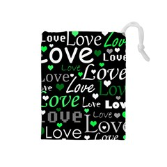 Green Valentine s Day Pattern Drawstring Pouches (medium)  by Valentinaart