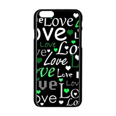 Green Valentine s Day Pattern Apple Iphone 6/6s Black Enamel Case by Valentinaart