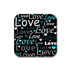 Valentine s Day Pattern   Cyan Rubber Coaster (square)