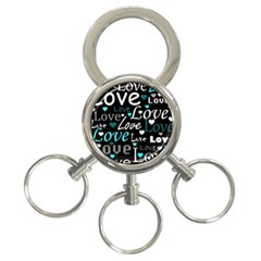Valentine s Day Pattern   Cyan 3 Ring Key Chains by Valentinaart