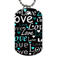 Valentine s Day Pattern   Cyan Dog Tag (two Sides) by Valentinaart