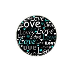 Valentine s Day Pattern   Cyan Hat Clip Ball Marker (10 Pack) by Valentinaart