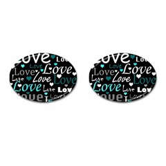 Valentine s Day Pattern   Cyan Cufflinks (oval) by Valentinaart