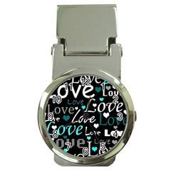 Valentine s Day Pattern   Cyan Money Clip Watches by Valentinaart