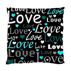 Valentine s Day Pattern   Cyan Standard Cushion Case (one Side) by Valentinaart