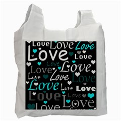 Valentine s Day Pattern   Cyan Recycle Bag (one Side) by Valentinaart