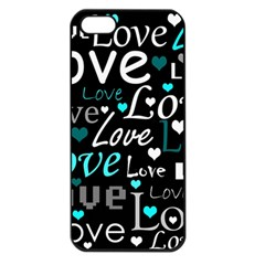 Valentine s Day Pattern   Cyan Apple Iphone 5 Seamless Case (black) by Valentinaart