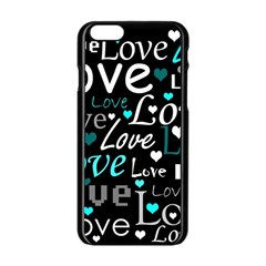 Valentine s Day Pattern   Cyan Apple Iphone 6/6s Black Enamel Case by Valentinaart