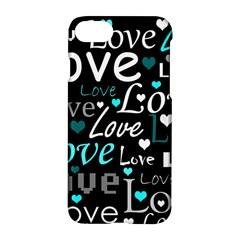 Valentine s Day Pattern   Cyan Apple Iphone 7 Hardshell Case by Valentinaart