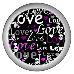 Valentine s Day Pattern   Purple Wall Clocks (silver)  by Valentinaart
