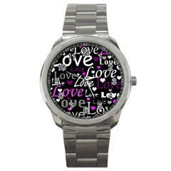 Valentine s Day Pattern   Purple Sport Metal Watch by Valentinaart