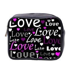 Valentine s Day Pattern   Purple Mini Toiletries Bag 2 Side by Valentinaart