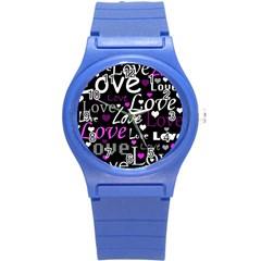 Valentine s Day Pattern   Purple Round Plastic Sport Watch (s) by Valentinaart