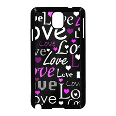 Valentine s Day Pattern   Purple Samsung Galaxy Note 3 Neo Hardshell Case (black) by Valentinaart