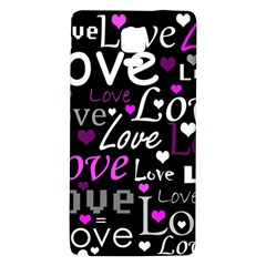 Valentine s Day Pattern   Purple Galaxy Note 4 Back Case by Valentinaart
