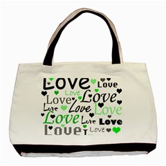 Green  Valentine s Day Pattern Basic Tote Bag by Valentinaart