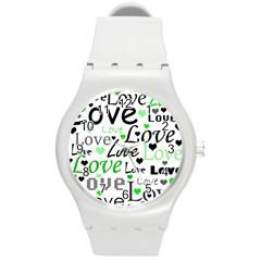 Green  Valentine s Day Pattern Round Plastic Sport Watch (m) by Valentinaart