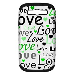 Green  Valentine s Day Pattern Samsung Galaxy S Iii Hardshell Case (pc+silicone) by Valentinaart
